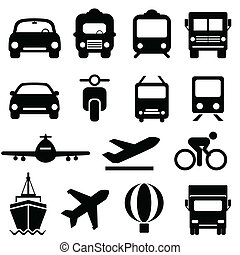 交通機関, アイコン, セット