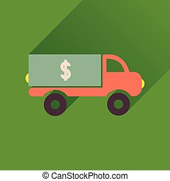 交通機関, アイコン, 自動車, 長い間, お金, 影, 平ら