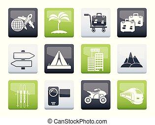 交通機関, アイコン, 色, 旅行, 背景, 休日, 上に