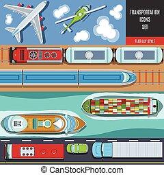 交通機関, カラフルである, アイコン, セット