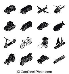 交通機関, セット, アイコン, 中に, 黒, style., 大きい, コレクション, の, 交通機関, ベクトル, シンボル, 株イラスト