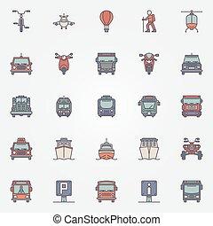 交通機関, 平ら, アイコン, セット