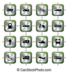 交通機関, 流行, アイコン, セット