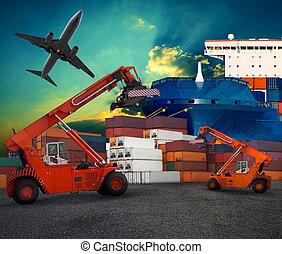交通機関, 空輸輸送機, 船のヤード, ロジスティックである, 使用, ビジネス, 取引, 港, 土地, 産業, 飛行機, サービス産業
