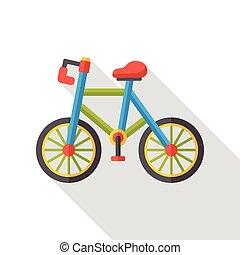 交通機関, 自転車, 平ら, アイコン