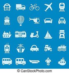 交通機関 色, アイコン, 上に, 青い背景