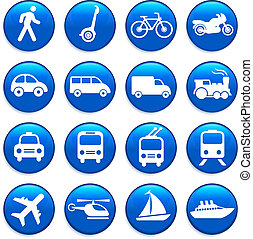 交通機関, 要素, デザイン, アイコン