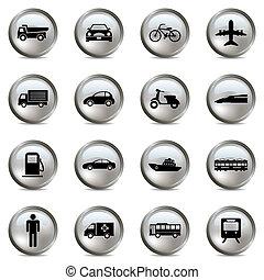 交通機関, 銀, アイコン, セット