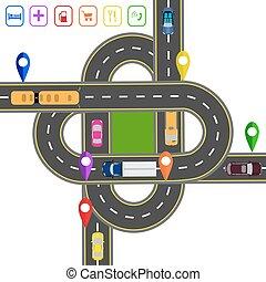交通機関, hub., 抽象的, map., イラスト, infographics., オブジェクト, 様々, 道, 交差点, 注目される, 輸送, roads.