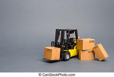交通機関, infrastructure., ロジスティクス, 増加, 生産, 出産, 販売, boxes., 黄色, フォークリフト, 貯蔵, goods., ボール紙, 小売り, 貨物, 出荷, トラック, 貨物
