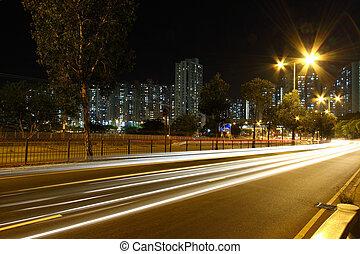 交通, によって, ダウンタウンに, の, 香港, 夜で