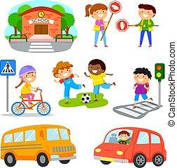 交通, セット, 安全, 漫画, 道