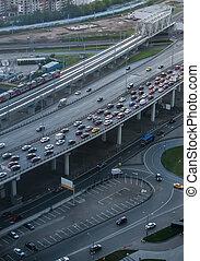 交通, 上, 高速公路, 在, the, 使平在里, 大的城市
