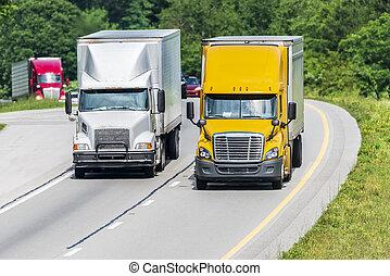 交通, 下來, 卡車, 領導, 二, 高速公路