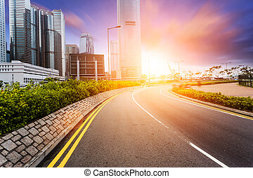交通, 道, 都市の景観, hongkong.