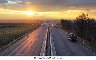 交通, cars., 高速公路