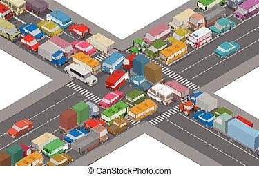 交通, jam., 等量, 汽車, 以及, 房子, 為, 插圖, ......的, 忙, road.
