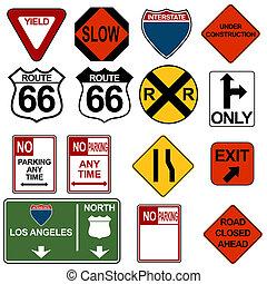 交通, signage, セット