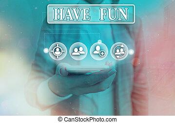 享乐, 概念性, fun., 正文, 照片, 本身, 任务, amusement., 提供, 签署, 有, 显示