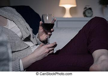 享用, the, 晚上, 由于, a, 杯酒