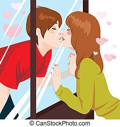 亲吻, 窗口, 通过