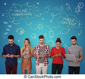 人々のグループ, ∥で∥, いくつか, デジタル, 装置