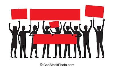人々のグループ, ∥で∥, 赤, プラカード, シルエット