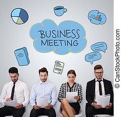 人々のグループ, 中に, ビジネスが会合する