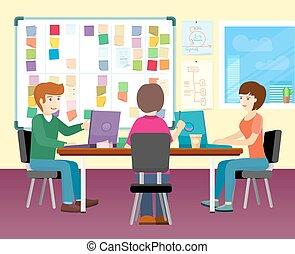 人々のグループ, 仕事, 中に, オフィス