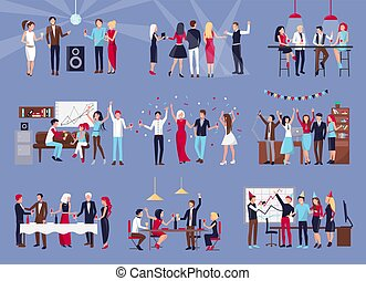人々のグループ, 祝う, ベクトル, イラスト