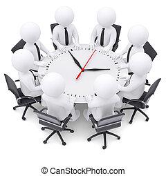 人々のモデル, テーブル, 白, ラウンド, 3d