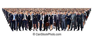 人々の大きいグループ, 丈いっぱいに, 隔離された, 白