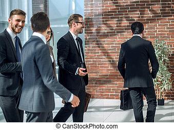 人々ビジネス, オフィス, グループ, 建物。