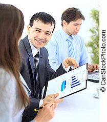 人々ビジネス, スタッフ, -, オフィス, グループ, ミーティング