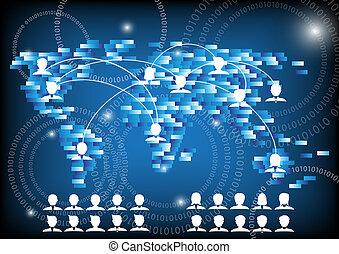 人々ビジネス, ネットワーク, コミュニケーション, 世界