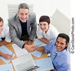 人々ビジネス, 他, 微笑, 2, 挨拶, それぞれ