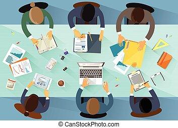 人々ビジネス, 角度, の上, 光景, チーム, 仕事場, 上