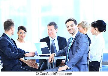 人々ビジネス, room., モデル, 微笑, グループ, ミーティング