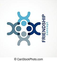 人々, ∥あるいは∥, チームワーク, logo., 青, 夢, 要素, チーム, 統一, crew., ベクトル, ...