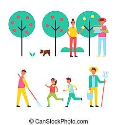 人々, お元気で, について, 木, 中に, 庭, アイコン