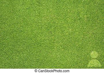 人々, アイコン, 上に, 緑の草
