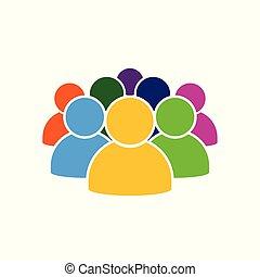 人々, アイコン, 中に, 様々, 色, イラスト