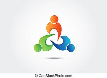 人々, イメージ, 統一, ベクトル, チームワーク, ロゴ