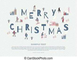人々。, イラスト, 年, 新しい, ほんの少し, クリスマス, 幸せ
