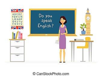 人々, -, イラスト, 漫画, 特徴, 英語, 教師