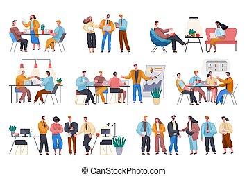 人々, オフィス, ビジネスが会合する, 会議