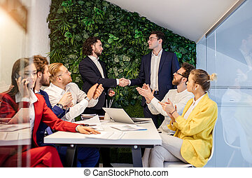 人々, オフィス, 動揺, コーカサス人, 手, ビジネス