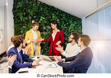 人々, オフィス, 揺れている手, ビジネス