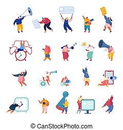 人々, オフィス, 特徴, brainstorming., 人, 平ら, 漫画, 交渉, ビジネス, ベクトル, ∥あるいは∥, 取得, ミーティング, ビジネスマン, 女, セット, businesswoman., scenes., 部分, イラスト