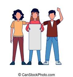 人々, カラフルである, ブランク, protestating, デザイン, プラカード, 若い
